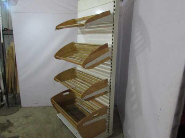 Купить Стеллаж хлебный 4 полки + корзина основание на базе пристенного стеллажа торгового 100/200