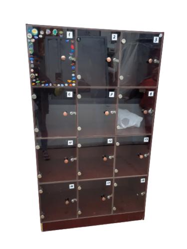 Купить Шкаф для хранения сумок 12 ячеек дсп дверцы стекло 100/45/176