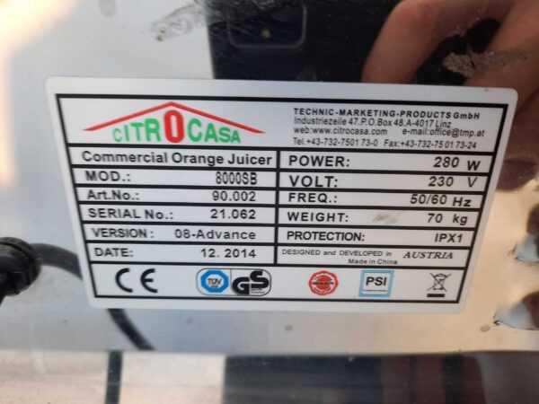 Купить Соковыжималка Citrocasa 8000 SB для цитрусовых