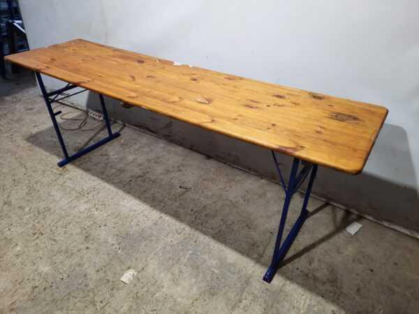 Купить Стол 220/58/75 крышка дерево массив ноги сталь складные синие