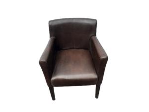 Купить Кресло кожзам коричневое ноги темное дерево