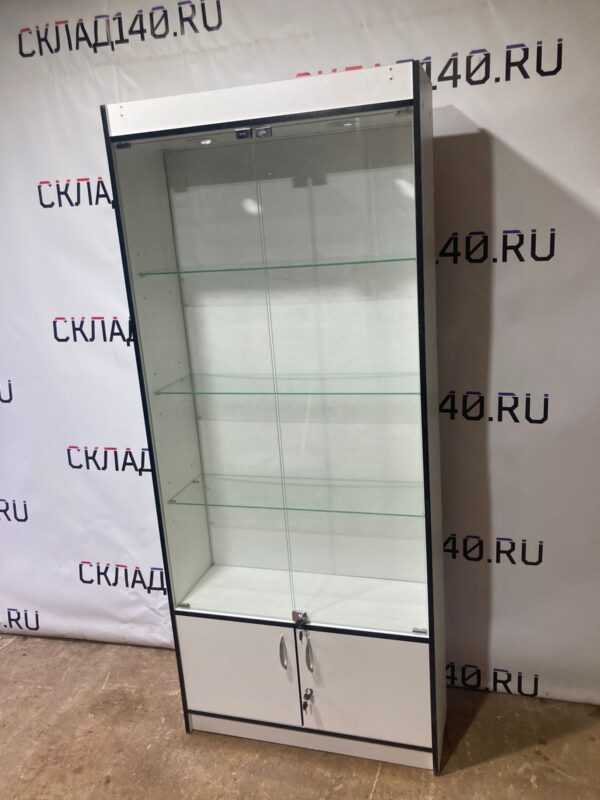 Купить Стеллаж ДСП белый дверцы стекло 85/30/200