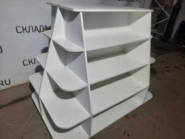 Купить Стеллаж ЛДСП белый 4 полки 150/100/120 остров