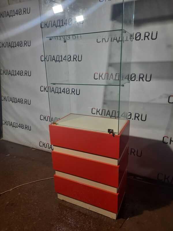 Купить Стойка витрина стекло ЛДСП красная 1 дверь 69/44/210 красная