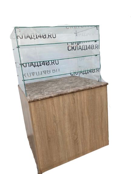 Купить Кассовый прилавок 100/90/90 дсп бежевый со стеклом